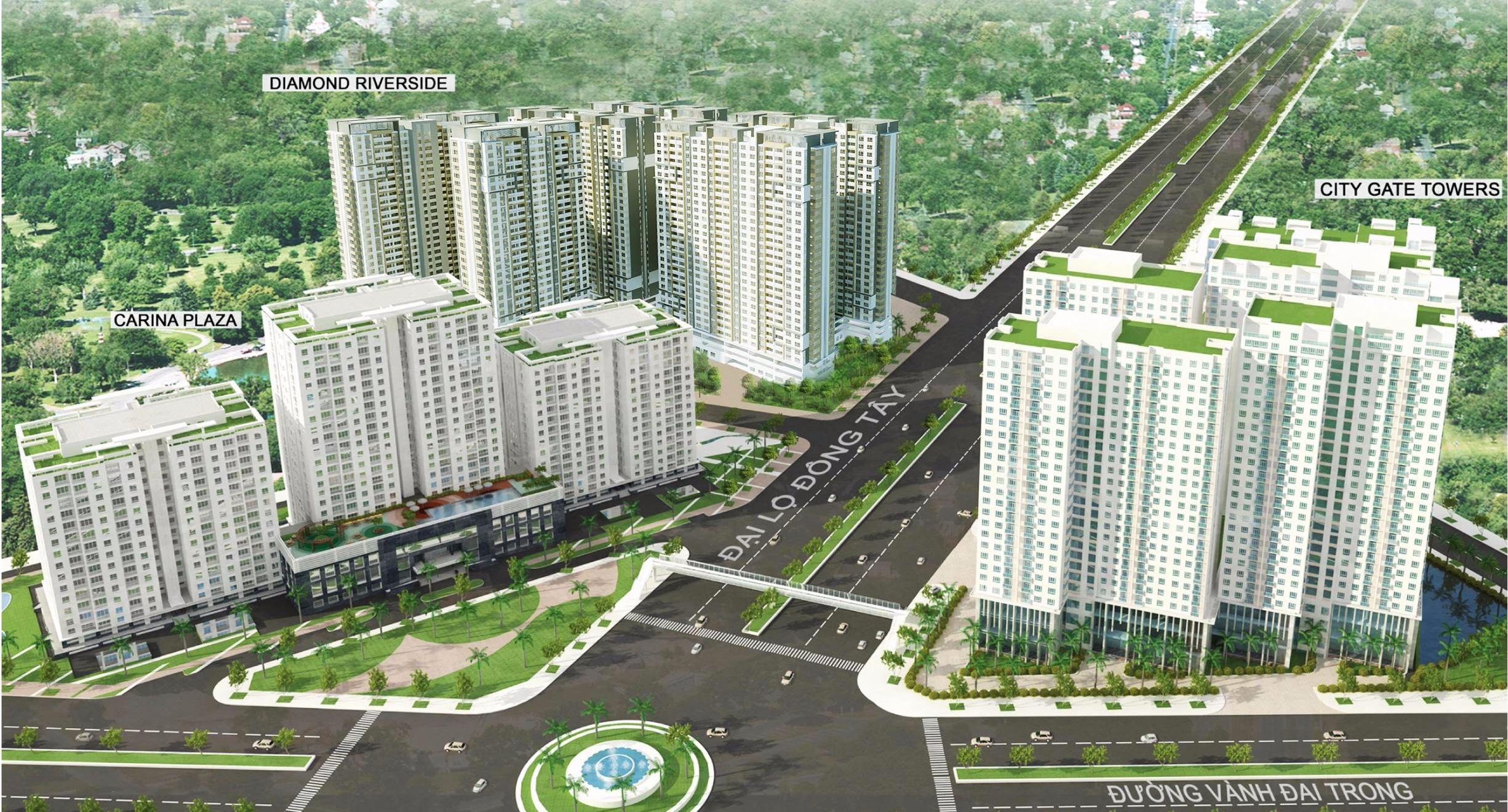 Phối cảnh dự án City Gate Towers và dự án Diamond Riverside